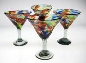 Mexican Glass Margarita / Martini Confetti Swirl, 440ml, set of 4
