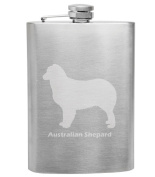 Australian Shepard Breed Love 240ml Stainless Steel Flask - Hand Etched - Made in the USA, Great for gifts