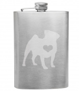 Pug Love 240ml Stainless Steel Flask - Hand Etched - Made in the USA, Great for gifts