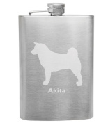 Akita Breed Love 240ml Stainless Steel Flask - Hand Etched - Made in the USA, Great for gifts