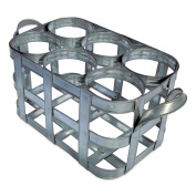"The Le Zinc 6 Bottle Caddy, French Vintage Style, Wine Carrier, Side Handles with Snug Holders, Rustic Farmhouse Holder, Grey Metal, 13 3/8L x 7 1/8x 6H"" by Whole House Worlds"