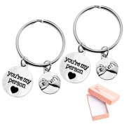 "Top Plaza Set of 5.1cm You're My Person"" Pinky Promise Antique Silver Alloy Key Chain Key Ring Valentines Christmas Gift W/box"
