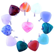 12pcs Big Love Heart Pendants 2.5cm Charms Crystal Heading Chakra Rock Stone Pendants Diy for Necklace Jewellery Making