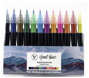 Nightscape Watercolour Brush Marker Pens, Felt Nib, Firm Tip, Set of 12 Colours
