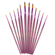 StarVast Painting Brushes, 12pcs Professional Round Pointed Paint Brush Set for Watercolour/Oil/Acrylic/Crafts/Rock/Face Painting and Gouache - Purple