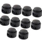 YOYOSTORE 20 Pcs Black Plastic Round Head Paracord Planet Double Barrel Hole Spring Stop