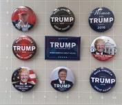 Donald Trump Set of 9 Best Seller Campaign Buttons - Buttons measure 5.7cm