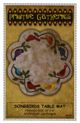 Songbirds Table Mat Felted Wool Fusible Applique Pattern 41cm Scalloped Round Penny Rug Primitive