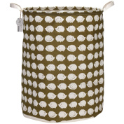 Sea Team 60cm Oversize Linen & Cotton Fabric Folding Nursery Laundry Hamper Bucket Cylindric Burlap Canvas Storage Basket with Waterproof PE Coating Lining