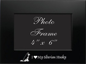 4x6 Brushed Metal Picture Frame-I love my Siberian Husky-Black