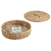 Artland Garden Terrace Chip N Dip Glass Platter & Bowl in Seagrass Tray with Lid, Medium