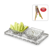 Exquisite Crystal Cut Candy, Veggie, and Dip Dish - Two Square Removable Section Bowls on Rectangular Tray