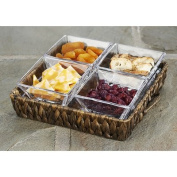 Artland Garden Terrace 4 Section Seagrass Server with 4 Glass Bowls & 1 Square Tray, Small
