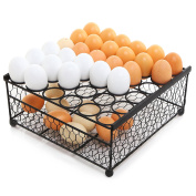 2 Tier Country Rustic Black Chicken Wire 36 Eggs Display Tray and Storage Basket