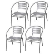 Anself Aluminium Stackable Dining Garden Outdoor Chairs Silver Set of 4
