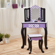 Teamson Kids Fashion Prints Purple Chevron Wooden Vanity Table & Stool Set