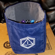 """Third Die Dice Bag - Very Large """"Bag of Hoarding"""" - Will Hold 450 Dice - Handcrafted and Reversible Drawstring Bag That Stands Open On The Table - For All Your Gaming Needs - Navy Blue and Grey"""