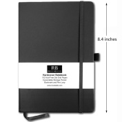 RICCO BELLO Dotted Grid Hardcover Banded Notebook Journal with Pen Loop, Bookmark and Expandable Pocket | 192 Dot Grid Acid-Free Pages | Black 21cm x 14cm …