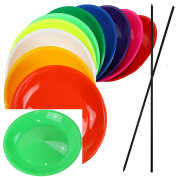 Spinning Plates with wooden Sticks or plastic sticks, various colours and different quantities sold by SchwabMarken
