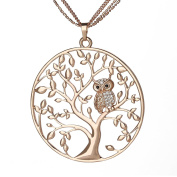 SCIONE Czech Stones Owl Kabala Tree of Life Pendant Necklace with 70cm Chain