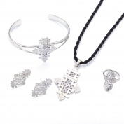 Silver Plated Ethiopian Classic Cross Pendant Earrings Ring Bangle Women Jewellery Sets