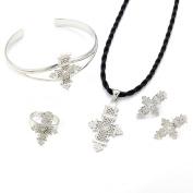 Silver Plated Ethiopian Cross Sets Jewellery Pendant Black Rope Earrings Ring Bangle Women