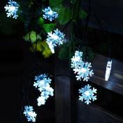 JOJOO Battery Powered 30 LED 3.2m Snowflake String Lights Christmas Lights for Xmas, Garden, Patio, Indoor, Outdoor Decor, White LT030