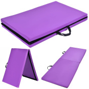 "Youzee 6'x 24"" x 3.8cm Gymnastics Mat Thick Two Folding Panel Gym Fitness Exercise Purple"