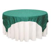 180cm Square Crinkle Taffeta Table Overlays Teal