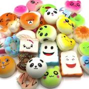 Trasfit 20 Pieces Random Mini Squishy Charms Kawaii Soft Foods Squishies Cake/Panda/Bread/Buns Phone Charm Key Chain Strap