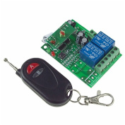 RF DC 12V 2 Channels Wireless Relay Grey & Red Button Remote Controller Switch Smart House Eqiupment