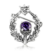 WithLoveSilver 925 Sterling Silver Classic Scottish Style Thistle And Heart With Round Amethyst Brooch