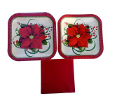Red Poinsettia Christmas Pary Supplies. Pretty Supply Plates and Dinnerware Pack
