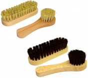 DELARA Wooden Handled Shoe Polish Kit, Four Brushes With Natural Bristles