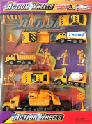 Action Wheels Construction 17 Pieces Die Cast Car Series, Street Work Utility Vehicles Action Figures Full Playset