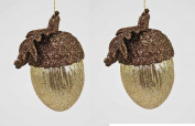 PAIR! Gift Boxed Christmas Copper Glittered Top Gold Glitter Acorn Shaped Ornaments