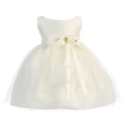 Sweet Kids Baby Girls Ivory Floral Embellished Flower Girl Dress 6-24M