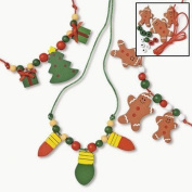 Wooden Beaded Holiday Necklace Craft Kit - Crafts for Kids and Jewellery Crafts-makes 12