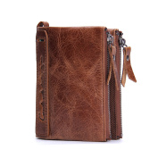 Contacts Mens Genuine Leather Bifold Coin Purse Double Zipper Pocket Wallet