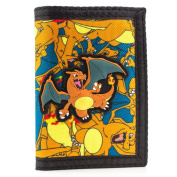 Pokemon Charizard No.6 Fire Hook and loop Orange Coin Card Tri-Fold Wallet