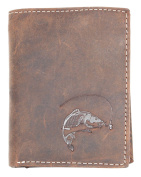 Natural strong genuine leather wallet with a carp
