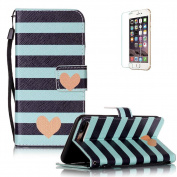 iPhone 7 Plus 14cm Case [with Free Screen Protector], Funyye Anti Shock Stand Feature Colourful Drawing PU Leather Magnetic Closure Wallet With [Lanyard Strap] and [Credit Card Holder] Case Cover Shell for iPhone 7 Plus 14cm - Stripes Love Heart