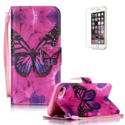 iPhone 7 12cm Case [with Free Screen Protector], Funyye Anti Shock Stand Feature Colourful Drawing PU Leather Magnetic Closure Wallet With [Lanyard Strap] and [Credit Card Holder] Case Cover Shell for iPhone 7 12cm - Flower Butterfly