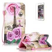 iPhone 7 Plus 14cm Case [with Free Screen Protector], Funyye Anti Shock Stand Feature Colourful Drawing PU Leather Magnetic Closure Wallet With [Lanyard Strap] and [Credit Card Holder] Case Cover Shell for iPhone 7 Plus 14cm - Rose Tower