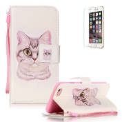 iPhone 6/6S 12cm Case [with Free Screen Protector], Funyye Anti Shock Stand Feature Colourful Drawing PU Leather Magnetic Closure Wallet With [Lanyard Strap] and [Credit Card Holder] Case Cover Shell for iPhone 6/6S 12cm - Cute Cat