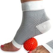 COMPRESSION SOCKS for Plantar Fasciitis (pair), and FREE Spiky Massage Ball (Bundle), for Foot Pain, Ankle & Arch Support, & Swelling