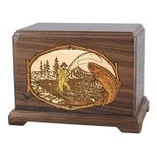 Wood Cremation Urn - Walnut Trout Stream Fishing Hampton