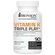Bronson Vitamin K Triple Play 550mcg (Vitamin K2 MK7 / Vitamin K2 MK4 / Vitamin K1) 90 Capsules