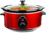 Andrew James 3.5 Litre Premium Red Slow Cooker with Tempered Glass Lid, Removable Ceramic Inner Bowl and Three Temperature Settings, Includes 2 Year Warranty