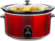 Andrew James 8 Litre Premium Red Slow Cooker with Tempered Glass Lid, Removable Ceramic Inner Bowl and Three Temperature Settings, Includes 2 Year Warranty